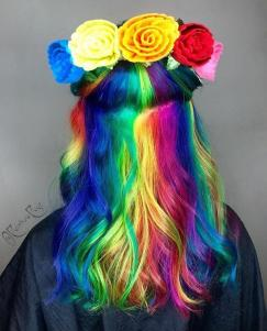 Rainbow Hair with Flowers