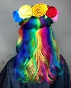 Rainbow Hair with Flowers